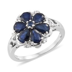 Madagascar Blue Sapphire, Multi Gemstone Platinum Over Sterling Silver Floral Ring (Size 7.0) TGW 3.28 cts.
