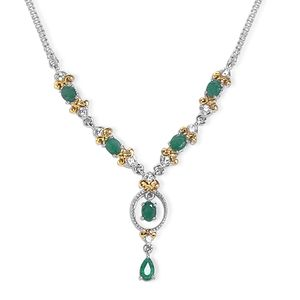 Brazilian Emerald, Cambodian Zircon 14K YG and Platinum Over Sterling Silver Fleur De Lis Necklace (18 in) TGW 2.75 cts.