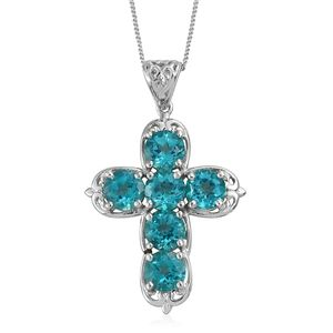 Paraiba Topaz Platinum Over Sterling Silver Cross Pendant With Chain (20 in) TGW 5.70 cts.