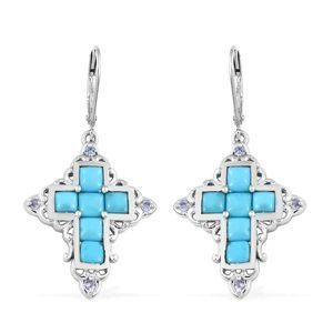 Arizona Sleeping Beauty Turquoise, Tanzanite Platinum Over Sterling Silver Lever Back Cross Earrings TGW 4.68 cts.