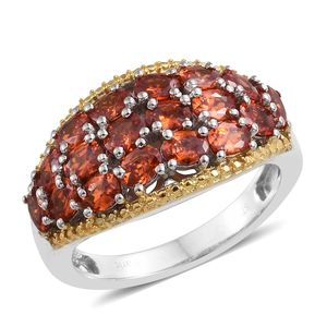 KARIS Collection - Simulated Sunset Sapphire ION Plated 18K YG and Platinum Bond Brass Cluster Ring (Size 5.0) TGW 4.86 cts.