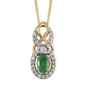 Brazilian Emerald, Cambodian Zircon Vermeil YG Sterling Silver Pendant With Chain (20 in) TGW 0.69 cts.