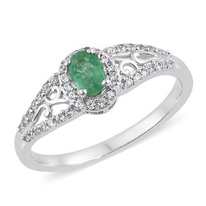 Brazilian Emerald, Cambodian Zircon Platinum Over Sterling Silver Openwork Ring (Size 6.0) TGW 0.83 cts.