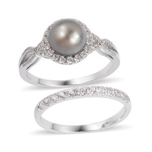 Tahitian Pearl (8-9 mm), White Zircon Sterling Silver Bridal Ring Set (Size 9) TGW 1.58 cts.