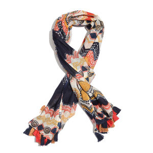 Black 100% Cotton Printed Pareo with Pom Pom Tassles (43x73 in)