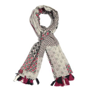 Multi Color 100% Cotton Printed Pareo with Pom Pom Tassles (43x73 in)