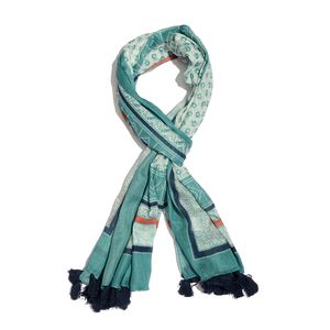 Aquamarine 100% Cotton Printed Pareo with Pom Pom Tassles (43x73 in)