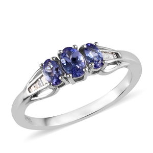 Dan's Collector Deal Tanzanite, Diamond Platinum Over Sterling Silver Ring (Size 8.0) TDiaWt 0.07 cts, TGW 1.01 cts.