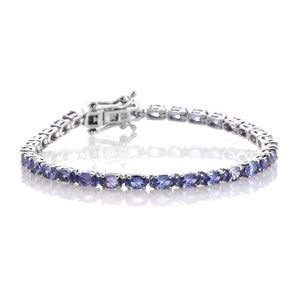 Tanzanite Platinum Over Sterling Silver Bracelet (7.50 In) TGW 7.00 cts.