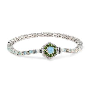 Ethiopian Welo Opal, Multi Gemstone Platinum Over Sterling Silver Flower Box Clasp Bracelet (7.50 In) TGW 7.44 cts.