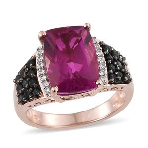 Radiant Orchid Quartz, Multi Gemstone Vermeil RG Over Sterling Silver Ring (Size 7.0) TGW 8.47 cts.