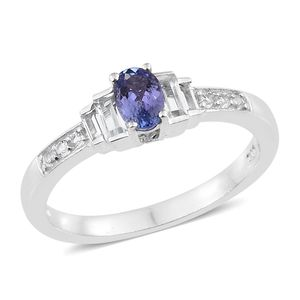 Tanzanite, White Topaz Platinum Over Sterling Silver Ring (Size 7.0) TGW 1.05 cts.