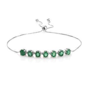 Brazilian Emerald Platinum Over Sterling Silver Bolo Bracelet (Adjustable) TGW 2.00 cts.