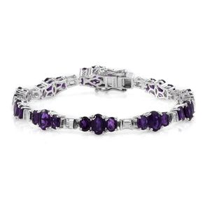 Lusaka Amethyst, White Topaz Platinum Over Sterling Silver Bracelet (7.50 In) TGW 14.46 cts.