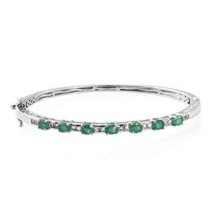 Brazilian Emerald, White Topaz Platinum Over Sterling Silver Bangle (7.25 in) TGW 3.57 cts.