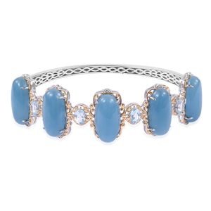 Burmese Blue Jade, Sky Blue Topaz 14K YG Over and Sterling Silver Bangle (7.25 in) TGW 57.60 cts.