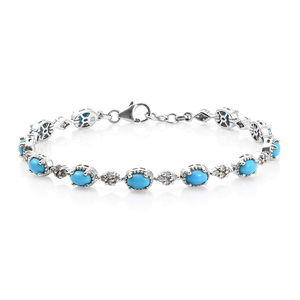 Arizona Sleeping Beauty Turquoise, Cambodian Zircon Platinum Over Sterling Silver Bracelet (7.50 In) TGW 5.90 cts.