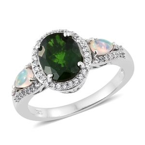Russian Diopside, Multi Gemstone Platinum Over Sterling Silver Ring (Size 9.0) TGW 3.46 cts.