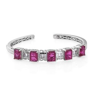 Radiant Orchid Quartz, White Topaz Platinum Over Sterling Silver Cuff (7.25 in) TGW 16.20 cts.
