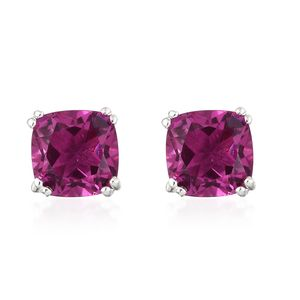 Radiant Orchid Quartz Platinum Over Sterling Silver Stud Earrings TGW 5.36 cts.