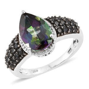 Northern Lights Mystic Topaz, Thai Black Spinel Black Rhodium & Platinum Over Sterling Silver Ring (Size 8.0) TGW 6.33 cts.