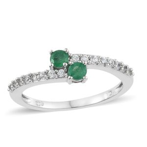 Brazilian Emerald, Cambodian Zircon Platinum Over Sterling Silver Bypass Ring (Size 5.0) TGW 0.70 cts.