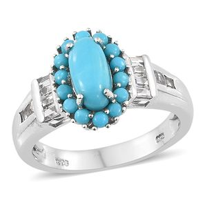 Arizona Sleeping Beauty Turquoise, White Topaz Platinum Over Sterling Silver Ring (Size 6.0) TGW 2.50 cts.