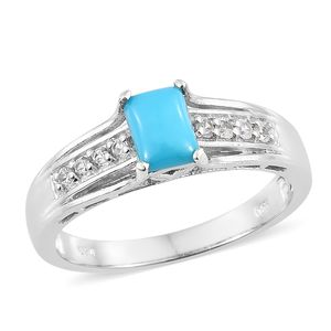 Memorial Day Doorbuster Arizona Sleeping Beauty Turquoise, Cambodian Zircon Platinum Over Sterling Silver Ring (Size 8.0) TGW 1.00 cts.