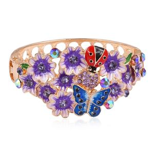 Multi Color Austrian Crystal, Purple Enameled Goldtone Bangle (7 in)