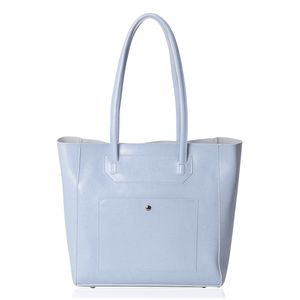 Pastel Blue Genuine Leather Tote Bag (16x5x12 in) with Standing Studs