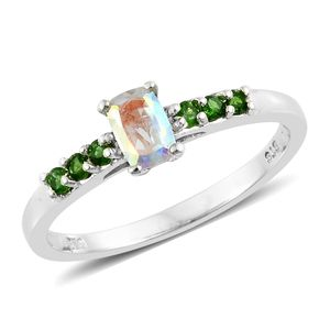 Mercury Mystic Topaz, Russian Diopside Platinum Over Sterling Silver Ring (Size 7.0) TGW 0.93 cts.