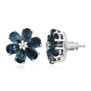 London Blue Topaz, Cambodian Zircon Platinum Over Sterling Silver Floral Stud Earrings TGW 6.00 cts.
