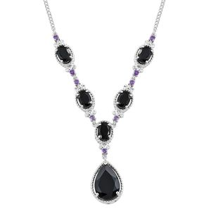 Thai Black Spinel, Amethyst Platinum Over Sterling Silver Princess Necklace (18-20in) TGW 11.70 cts.