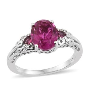 Radiant Orchid Quartz, Multi Gemstone Platinum Over Sterling Silver Ring (Size 7.0) TGW 4.14 cts.