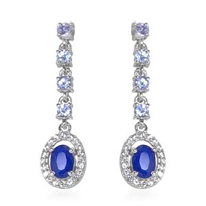 Blue Spinel, Multi Gemstone Platinum Over Sterling Silver Earrings TGW 1.76 cts.