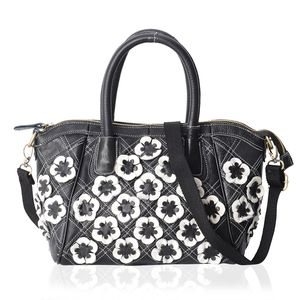 Chaos By Elsie Black and White Checker Genuine Leather Tote Bag (14x4x9 in) with Removable Shoulder Strap (50 in)
