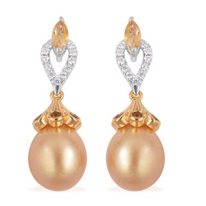 South Sea Golden Pearl (10-10.5 mm), Multi Gemstone 14K YG and Platinum Over Sterling Silver Earrings TGW 1.23 cts.