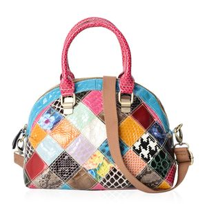 July 4th MEGA DOORBUSTER - Chaos By Elsie Multi Color Animal and Floral Print Genuine Leather Half Moon Bag (10x6x9 in) with Removable Shoulder Strap (50 in)