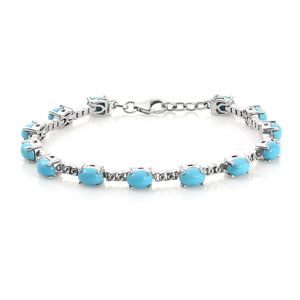 Arizona Sleeping Beauty Turquoise Platinum Over Sterling Silver Bracelet (7.50 In) TGW 10.50 cts.