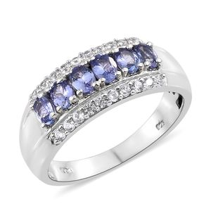 Tanzanite, Cambodian Zircon Platinum Over Sterling Silver Band Ring (Size 7.0) TGW 1.50 cts.