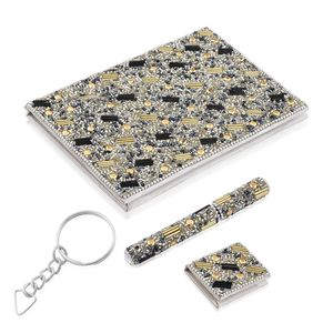 Set of 3 Gift Set - Gray Beaded Diary (5x7 in), Ball Point Pen (4.5 in) and Notebook Shape Keychain (1.5x2 in)