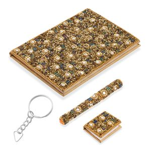 Set of 3 Gift Set - Gold Beaded Diary (5x7 in), Ball Point Pen (4.5 in) and Notebook Shape Keychain (1.5x2 in)