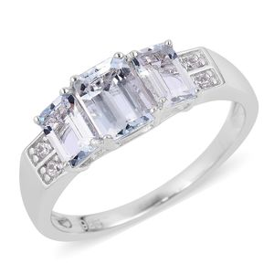 Espirito Santo Aquamarine, Natural White Zircon Sterling Silver Ring (Size 8.0) TGW 1.95 cts.