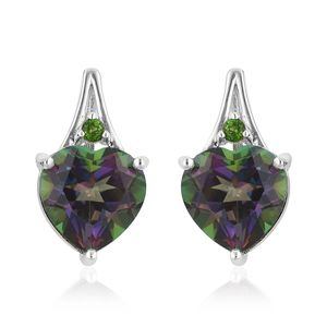 Northern Lights Mystic Topaz, Russian Diopside Sterling Silver Earrings TGW 6.50 cts.