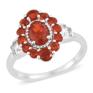 Crimson Fire Opal, White Topaz Platinum Over Sterling Silver Ring (Size 5.0) TGW 1.69 cts.