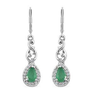 Brazilian Emerald, Cambodian Zircon Platinum Over Sterling Silver Lever Back Earrings TGW 1.05 cts.