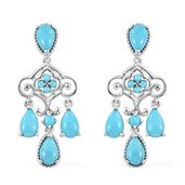 Arizona Sleeping Beauty Turquoise Platinum Over Sterling Silver Chandelier Earrings TGW 7.36 cts.