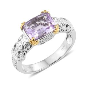KARIS Collection - Rose De France Amethyst ION Plated 18K YG and Platinum Bond Brass Ring (Size 7.0) TGW 2.80 cts.