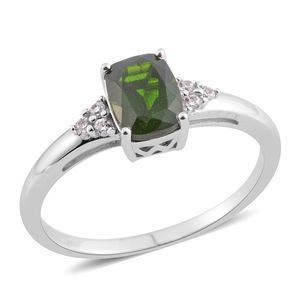 Russian Diopside, White Zircon Sterling Silver Ring (Size 10.0) TGW 1.53 cts.
