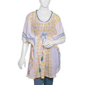 Yellow Hand Block Printed Kaftan (32x35 in, 100% Cotton)